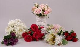 Букеты роз и гортензий