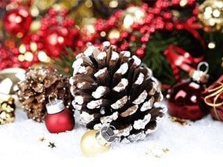 Шишки – стильный элемент праздничных композиций