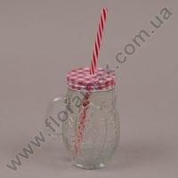 Чашка-банка Сова с трубкой красная 0,4 л. 35023