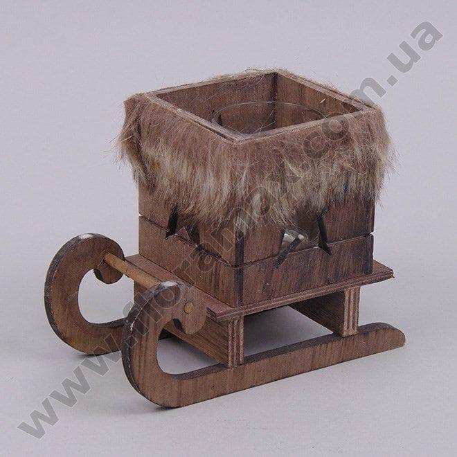 подсвечник новогодний деревянный сани 21930 купить подсвечники