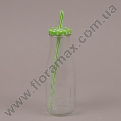 Фото Пляшка скляна з трубочкою зелена 0,4 л. 35035