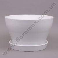 Горшок керамический Бокарнея глазурь 8 л. белый