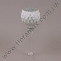 Подсвечник стеклянный бело-серебряный 30040