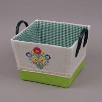 Корзина из ткани квадратная с ручками зеленая 5127