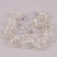Гірлянда LED срібні Ажурні кульки тепле світло 10 світлодіодів 1,5 м. 40820