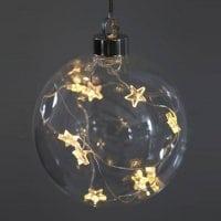 Куля скляна 10 см. з LED зірочками 10 шт. 40826