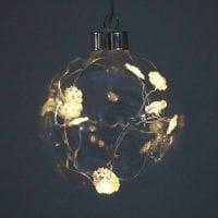 Куля скляна 10 см. з LED сніжинками 10 шт. 40827
