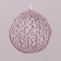 Куля новорічна рожева D-12 см. 75440