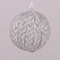 Куля новорічна срібна D-12 см. 75441