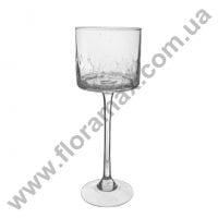 Подсвечник стеклянный трещины H-25 см. 8260