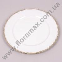 Подставка для свечи бело-золотая D-33 см. 24818