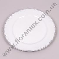 Підставка для свічки біло-срібна D-33 см. 24819