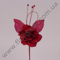 Цветок новогодний Роза бордовый 75525