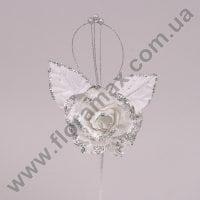Цветок новогодний Роза белый 75526
