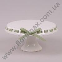 Тортовница белая с зеленой лентой D-26 см. 24663