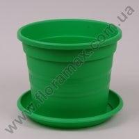 Горщик пластмасовий Краківський з підставкою зелений 22см.
