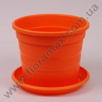Горщик пластмасовий Краківський з підставкою оранжевий 22см.