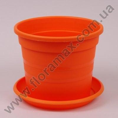 Фото Горшок пластмассовый Краковский с подставкой оранжевый