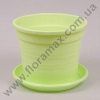 Горщик пластмасовий Краківський з підставкою світло-зелений 22см.