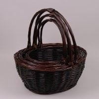 Комплект коричневых корзин из лозы 3 шт. 37362