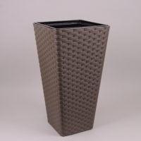 Горшок пластмассовый с вкладом Rattana Slim квадрат коричневый 30х30см.