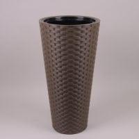 Горшок пластмассовый с вкладом Rattana Slim круглый коричневый 30см.
