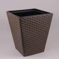 Горшок пластмассовый с вкладом Rattana квадрат коричневый 30х30см.