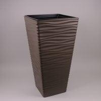 Горшок пластмассовый с вкладом Sahara Dunes Slim квадрат коричневый 30х30см.