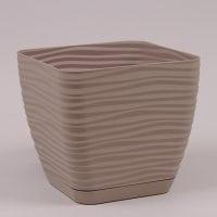Горшок пластмассовый с подставкой Sahara Petit квадрат серо-бежевый 13х13см.