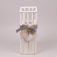 Підсвічник дерев'яний білий H-41 см. 37384
