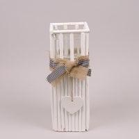 Подсвечник деревянный белый H-36 см. 37385