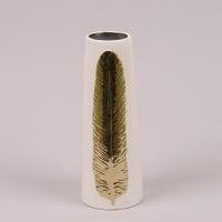 Ваза керамическая белая с золотым пером 26270