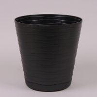 Горщик пластмасовий з підставкою Теді чорний 13см.