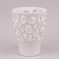 Горщик керамічний Орхідейниця Біоніка білий