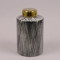 Ваза керамическая черно-белая с крышкой 41165