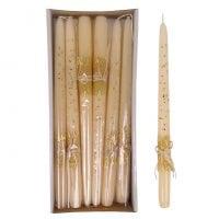 Свеча конусная Брокат Натура 30 см. кремовая 27612