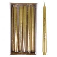 Свеча конусная Брокат Металлик 25 см. золотая 27614