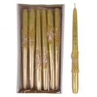 Свеча конусная Брокат Металлик Натура 25 см. золотая 27615