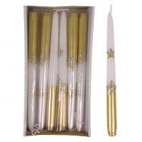 Свеча конусная Звездочки 25 см. белая 27616