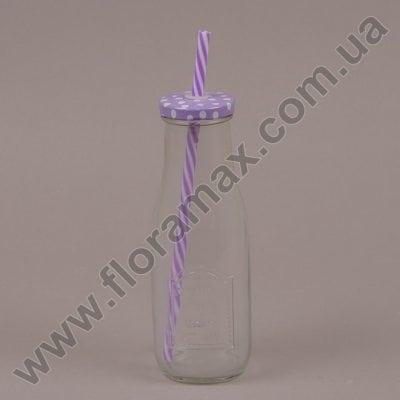 Фото Пляшка скляна з трубочкою фіолетова 0,4 л. 35036