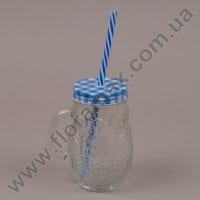 Чашка-банка Сова с трубкой синяя 0,4 л. 35025