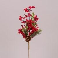 Веточка новогодняя с красными ягодками 75540