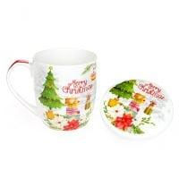 Чашка новорічна з кришкою 0,36 л. 31640