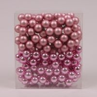 Шарики стеклянные 2,5 см. розовые (12 пучков-144 шарика) 40215