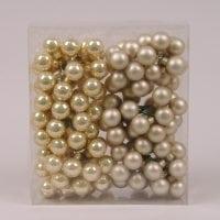 Шарики стеклянные 2,5 см. золото-шампань (12 пучков-144 шарика) 40218