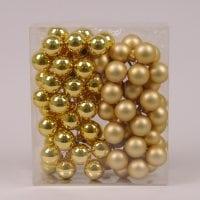 Шарики стеклянные 3 см. золотые (6 пучков-72 шарика) 40222