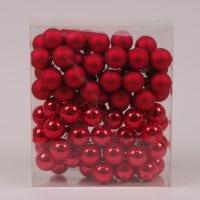 Шарики стеклянные 3 см. красные (6 пучков-72 шарика) 40223