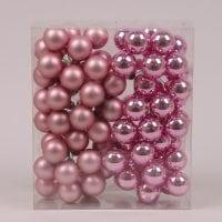 Шарики стеклянные 3 см. розовые (6 пучков-72 шарика) 40224