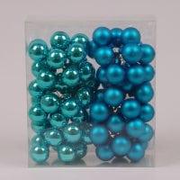 Кульки скляні 3 см. бірюзові (6 пучків-72 кульки) 40227