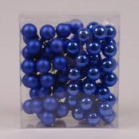 Кульки скляні 3 см. блакитні (6 пучків-72 кульки) 40228